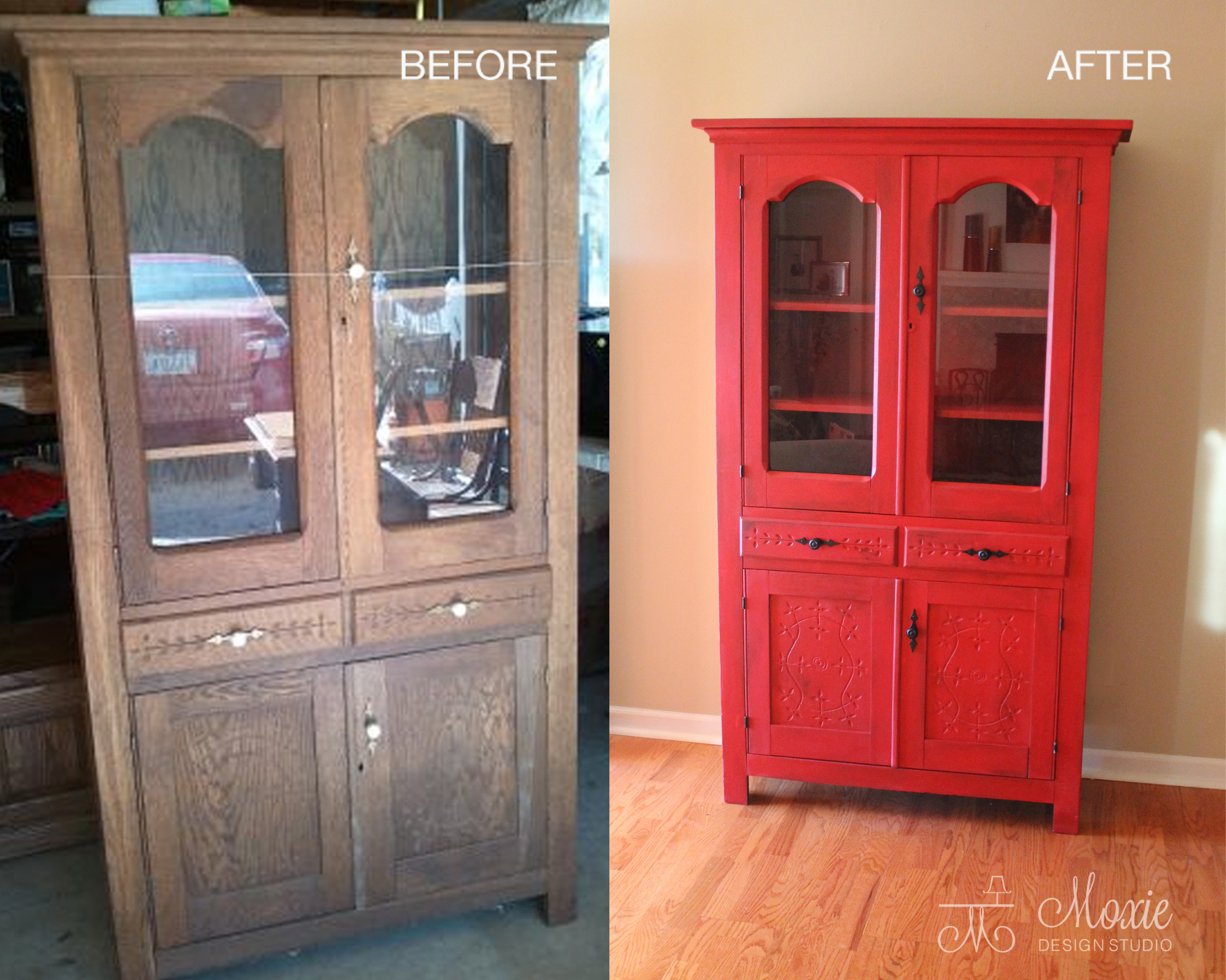 Custom Painted Hutch In Fabulous Red