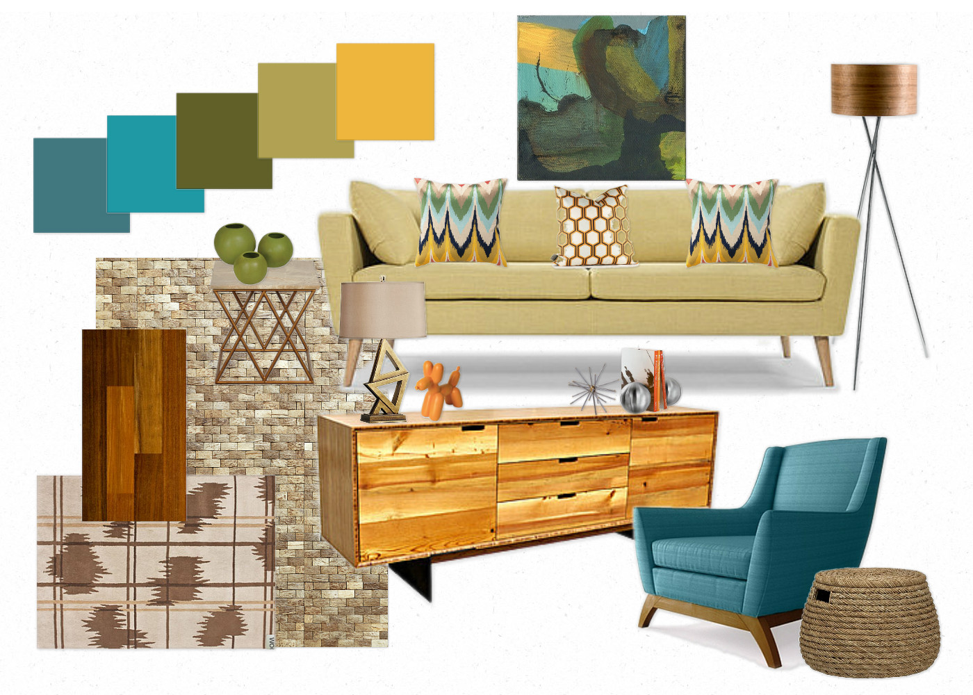 Moody monday mid century modern inspired living room - Modern home color palette ...