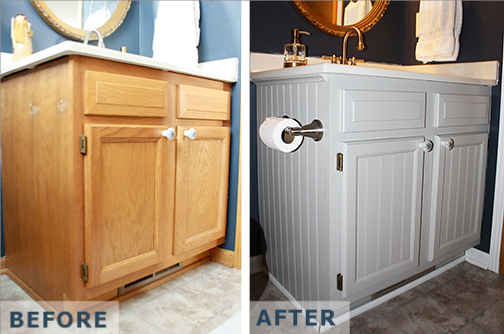 Painted Bathroom Cabinets Before And After painting laminate bathroom cabinets
