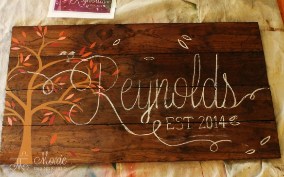 Chalked pallet sign