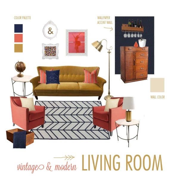 vintage modern living room